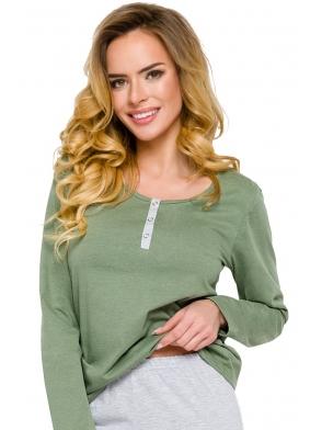 piżama damska zapinana na trzy guziczki góra z długim rękawem spodnie kolor szary jasny taro agnes 2233
