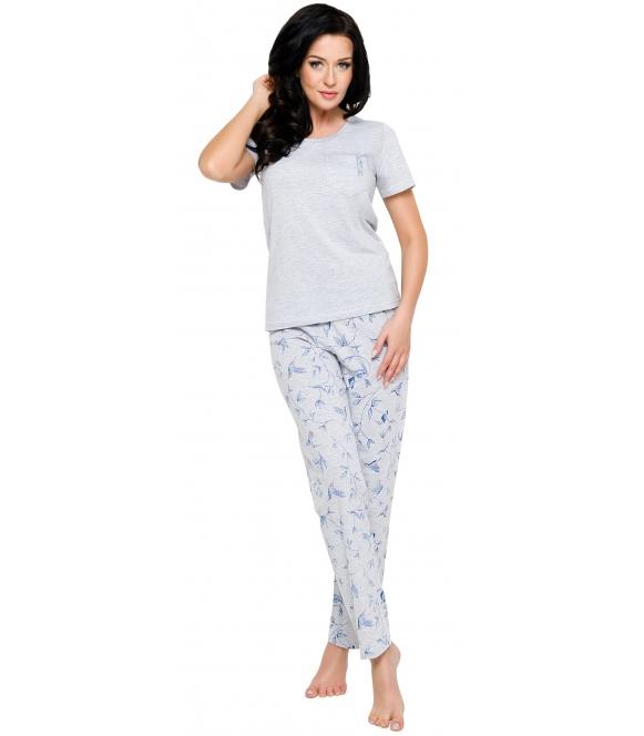 pizama damska z kieszonka krotki rękaw spodnie długie z nadrukiem koliberków taro ola 2231