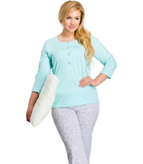 zapinana na guziki piżama damska bawełniana rękawy trzy czwarte spodnie długie taro teresa 2008