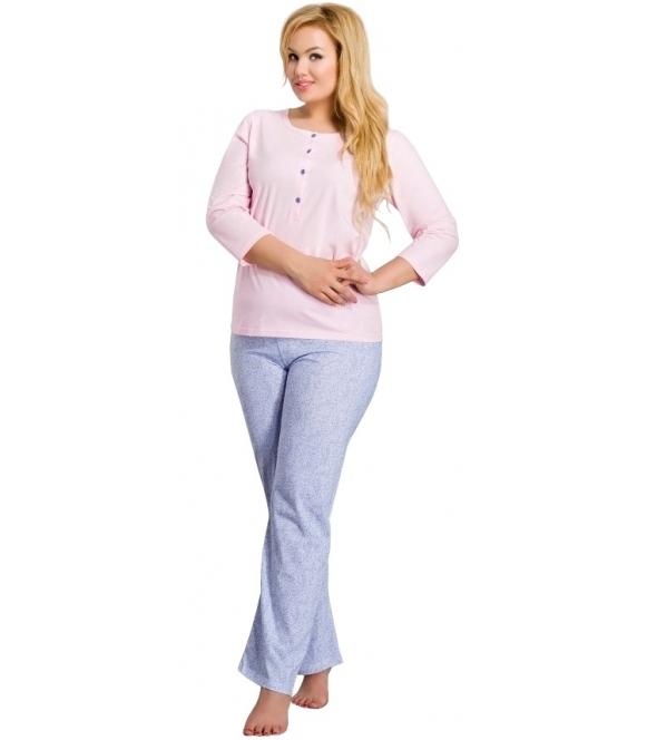piżama damska z guziczkami pod szyją bawełniana rękaw trzy czwarte spodnie długie z nadrukiem taro teresa 2008