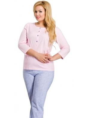 piżama damska zapinana na cztery guziki bawełniana z rękawem trzy czwarte i długimi spodniami z modnym nadrukiem taro
