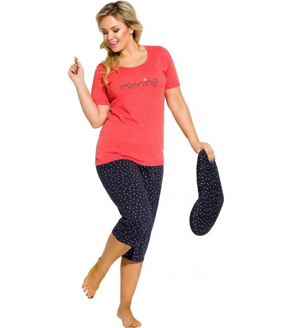 piżama damska z napisem morning bawełniana góra krótki rękaw czerwony kolor spodnie rybaczki trzy czwarte granatowe taro