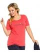 piżama damska ze spodniami rybaczkami trzy czwarte kolor granatowy góra czerwona napis morning krótki rękaw taro rachel 2193
