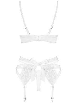 satynowa bielizna damska biała komplet stringi biustonosz usztywniany push up i pas do pończoch regulowany