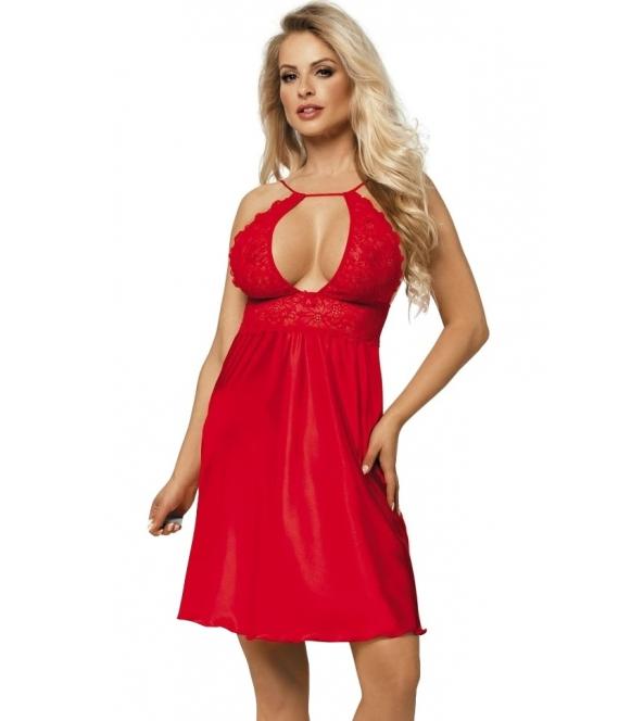 satynowa halka koszulka damska z odważnym dekoltem czerwona przed kolano regulowane ramiączka dkaren