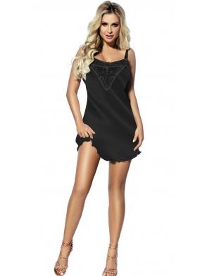 czarna koszulka halka damska nocna z satyny i pięknej koronki komfortowe regulowane ramiączka długość przed kolano dkaren carla