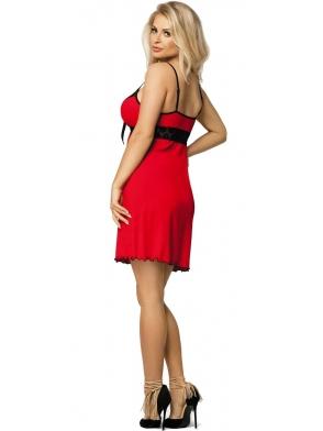 zdobiona kokardką pod biustem koszulka damska do spania czerwona z czarnymi koronkowymi wstawkami regulowane ramiączka dkaren