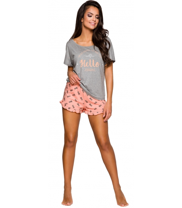 krótka piżama damska z szortami zakończonymi falbanką modny nadruk na koszulce spodenki wzorzyste krótkie taro willy