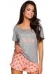 piżama damska z modnym nadrukiem spodenki z falbanką koszulka krótki rękaw wykonana z wiskozy taro willy