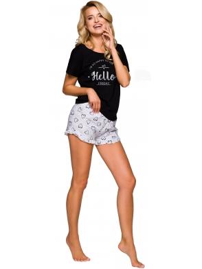 bawełniana piżama damska spodenki zakończone falbanką krótkie szare koszulka czarna z jasnym nadrukiem krótki rękaw taro