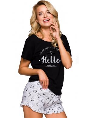 polska piżama damska z bawełny taro willy 2279 krótkie spodenki zakończone falbanką koszulka krótki rękaw z uroczym nadrukiem