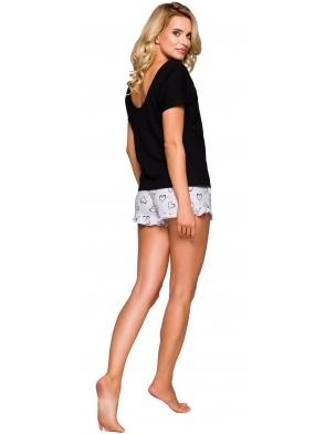 piżama damska z większym wycięciem na plecach koszulka krótki rękaw spodenki krótkie z falbanką taro willy bawełniana