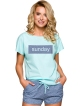 piżama damska bawełniana kolor miętowy z niebieskim nadruk na koszulce krótki rękaw sunday spodenki wiązane niebieskie taro pia