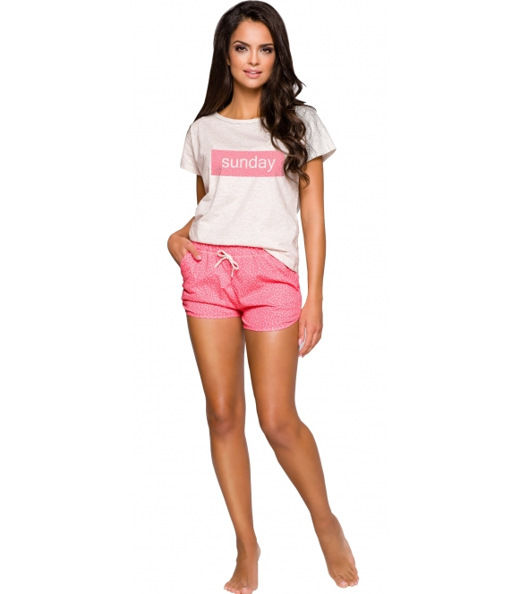 szaro różowa piżama damska bawełniana spodenki krótkie wiązane z nadrukiem koszulka z krótkim rękawem taro pia