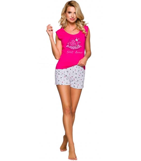 różowa piżama damska z krótkim rękawem i sympatycznym nadrukiem krótkie wzorzyste spodenki taro eva