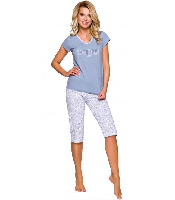 taro donata 2169 piżama damska bawełniana niebieska z nadrukiem krótki rękaw spodnie rybaczki