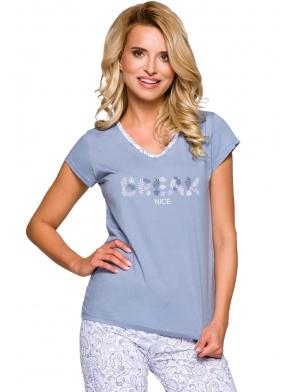 piżama damska bawełniana w odcieniach niebieskiego góra krótki rękaw z nadrukiem spodnie za kolano typu rybaczki taro