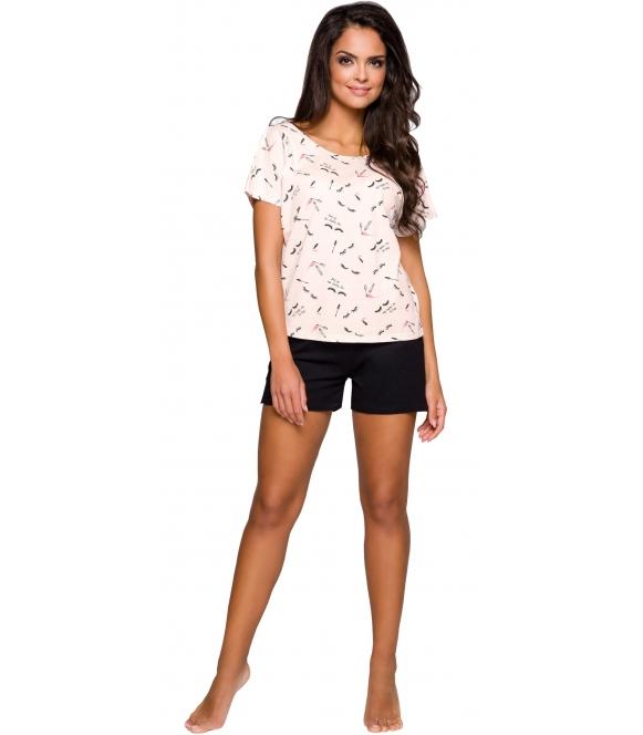 piżama damska bawełniana w kolorze moreli taro iza 2291 koszulka z krótkim rękawem i nadrukiem morelowa spodenki czarne krótkie