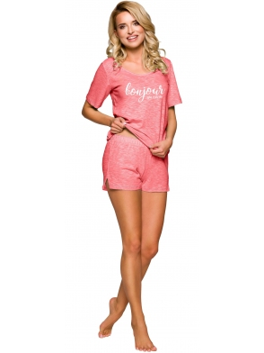 jednokolorowa piżama damska bawełniana morela koszulka z krótkim rękawem modny napis krótkie jednokolorowe spodenki