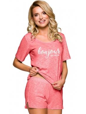 taro bella 2292 morela piżama damska bawełniana jednokolorowa koszulka z modnym napisem krótkie jednokolorowe spodenki