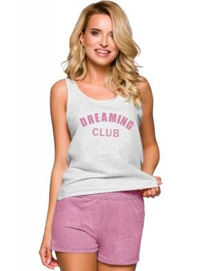 dwukolorowa piżama damska na ramiączkach bawełniana z nadrukiem krótkie spodenki z kieszeniami taro morgan 2295