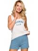 beżowo niebieska piżama damska na ramiączkach z nadrukiem spodenki niebieskie melanż z kieszeniami taro morgan 2295