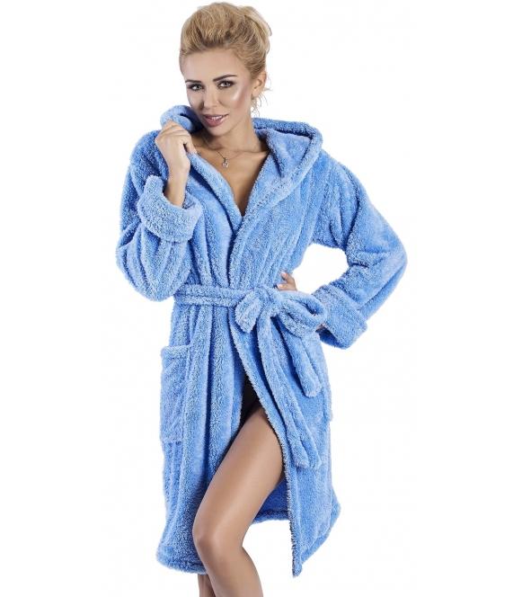 ciemno niebieski luksusowy szlafrok damski z kapturem wiązany paskiem dkaren diana
