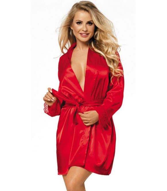 ognisto czerwony szlafrok damski podomka satynowa z koronką wiązana w talii paskiem długość przed kolana