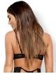 koronkowy biustonosz damski seksowne paseczki na dekolcie pionowe przeszycia czarny