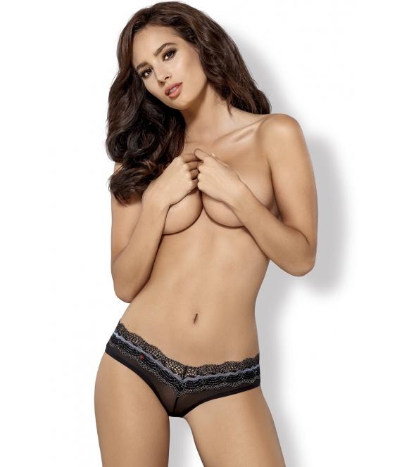 seksowne szorty majtki damskie z siateczki i koronki o geometrycznym wzorze podkreślające pośladki