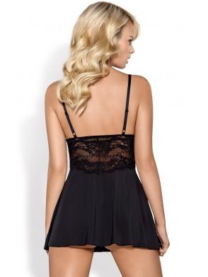 Koszulka nocna czarna i stringi komplet bielizny damskiej z koronkowymi kwiatowymi wstawkami firma obsessive