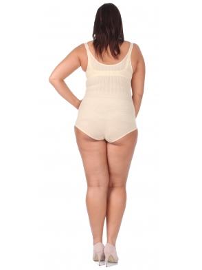 body wyszczuplające modelujące gorset size plus pod biust beżowy z regulacją ramiączek i zapięcia w kroku optimal