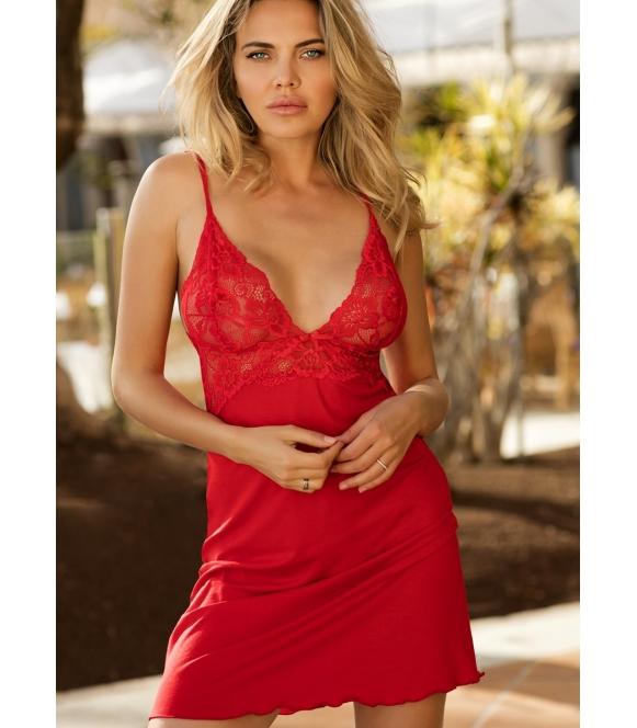 czerwona koszulka nocna damska z wiskozy i koronki trójkątne koronkowe miseczki dkaren