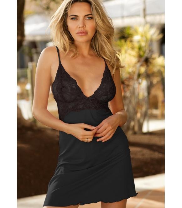 seksowna czarna koszula halka damska z wiskozy i koronki dkaren frederica