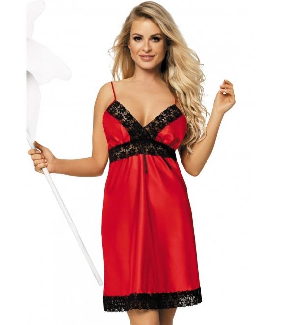 czerwona koszulka damska z trójkątnymi miseczkami zdobionymi czarną koronka satynowa kilka kolorów do wyboru