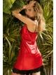 czerwona halka damska satynowa z czarna koronka na biuście i dole haleczki kokarda ozdobna na biuscie