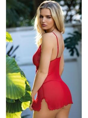 czerwona krotka koszulka damska i stringi bardzo seksowny komplet bielizny damskiej z regulowanymi ramiączkami i koronka