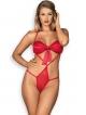 satynowe body damskie wiązane paseczkami czerwone z kokardka pod biustem i nad pośladkami obsessive