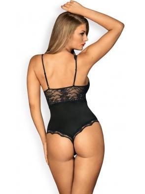 czarne body damskie biustonosz z fiszbinami koronkowe wstawki regulowane ramiaczka