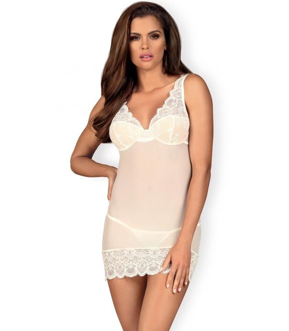 biała koronkowa koszulka damska z miseczkami z fiszbinami i stringi koronkowe obsessive