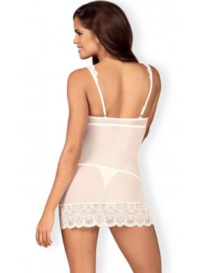 koszulka damska nocna i stringi komplet dwuczęściowy biały z koronkowymi wstawkami