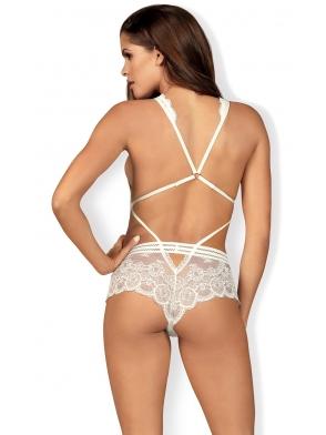 koronkowe białe body damskie seksowny dekolt paseczki i rozcięcia po bokach i nad pośladkami obsessive 853-ted-2