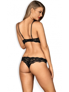 biustonosz o otwartym kroju stringi komplet bielizny damskiej czarny obsessive luvae