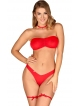 biustonosz damski figi chocker i podwiązki w kolorze czerwonym seksowny komplet bielizny damskiej obsessive kissmas
