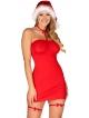 czerwona koszulka czapka mikołajki choker i podwiązki zmysłowy komplet bielizny damskiej obsessive kissmas