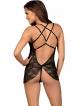 koronkowy czarny komplet seksownej bielizny damskiej koszulka babydoll i stringi obsessive 860-bab-1