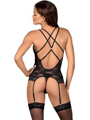 gorset i stringi czarny koronkowy komplet bielizny damskiej z kuszącymi paseczkami i błyszczącymi ozdobami obsessive 860-cor-1