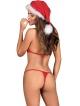 czapka mikołajki stringi i biustonosz świąteczny z białym puszkiem komplet bielizny damskiej obsessive santastic