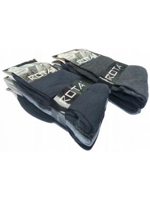 rota komplet 10 par skarpet męskich bawełnianych w kolorach czarnym granatowym i szarym
