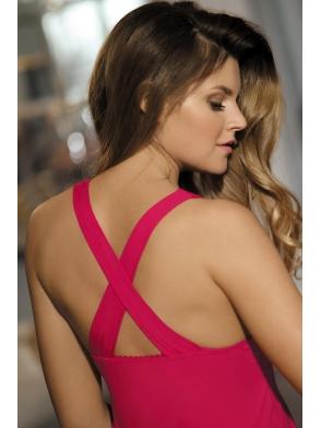 babella charlotta koszulka nocna rubinowa jasna z szerszymi ramiączkami krzyżującymi się na plecach